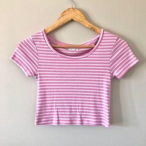 Ardene   Pink & White Striped Crop Top